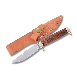 Rough Rider Stacked Leather Fixed Blade With Guthook